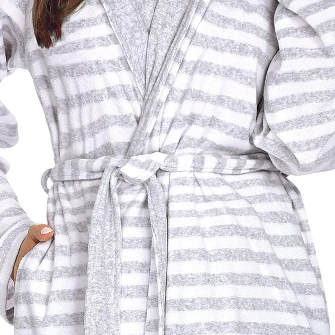 Comtessa Bademantel weiß grau gestreift Detail
